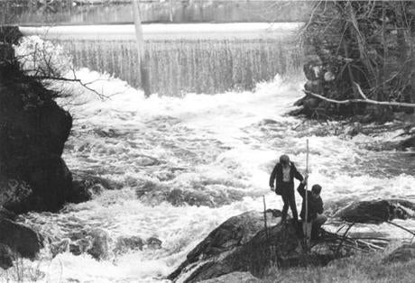 An old mill dam in Newton Lower Falls, seen in 1970.
