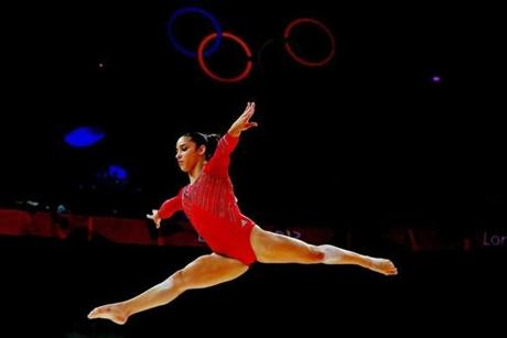 US gymnast Aly Raisman competed on the balance beam.