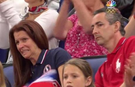 NBC's roving parent cam captured the angst of Needham residents Lynn and Rick Raisman as they watched daughter Aly on Sunday.