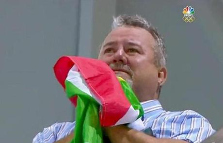 Clutching a South African flag, Bert Le Clos watched his son, Chad, win the gold in the 200-meter butterfly.
