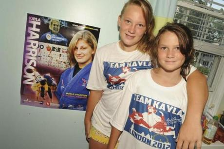 Darcy (right), and Kaelin O'Sullivan at their Marblehead home Thursday after seeing Kayla Harrison win the gold.
