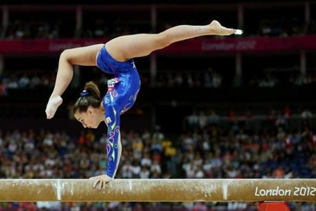 Carlotta Ferlito of Italy competed on the balance beam in the Artistic Gymnastics Women's Individual All-Around final.