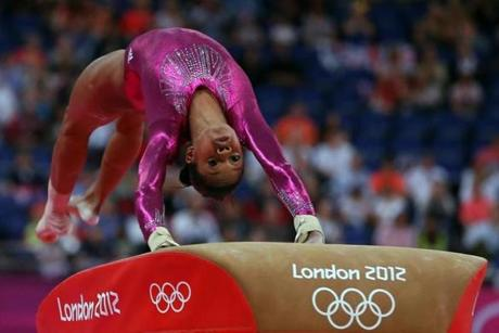 Gabrielle Douglas of the United States competed on the vault.