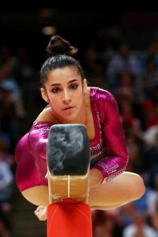 Aly Raisman of the United States competed on the balance be