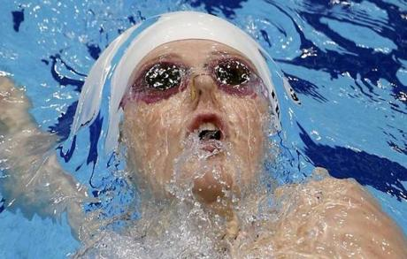 Missy Franklin of the United States swam in her women's 200-meter backstroke heat.