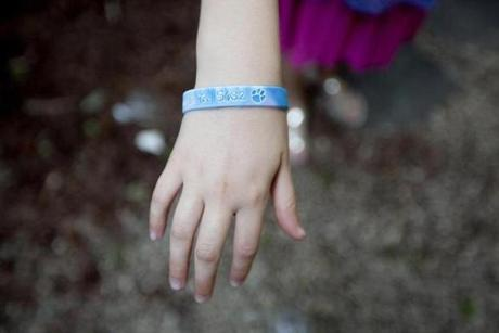Wrist bands were sold to raise money in support of Senate bill 682, legislation to include pets in protection orders.