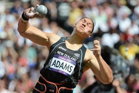 New Zealand's Valerie Adams competes in the women's shot put qualifications at the athletics event of the London 2012 Olympic Games on August 6, 2012 in London. AFP PHOTO / FRANCK FIFEFRANCK FIFE/AFP/GettyImages