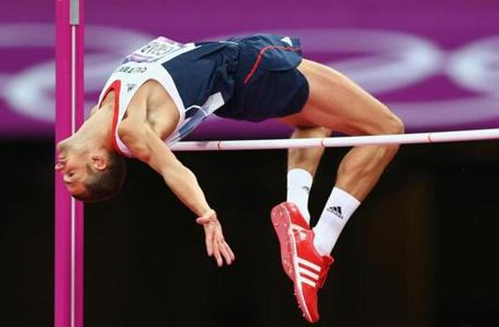 LONDON, ENGLAND - AUGUST 07: Robert Grabarz of Great Britain competes in the Men's High Jump Final on Day 11 of the London 2012 Olympic Games at Olympic Stadium on August 7, 2012 in London, England. (Photo by Michael Steele/Getty Images)