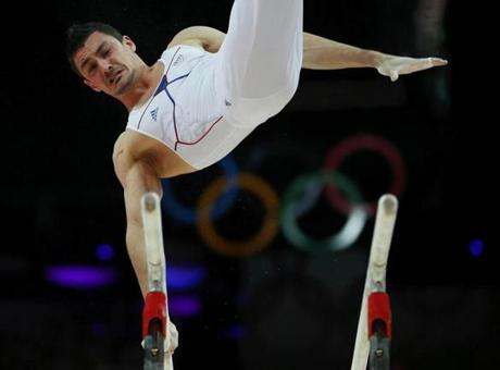 France's Hamilton Sabot competes in the men's gymnastics parallel bars final in the North Greenwich Arena during the London 2012 Olympic Games August 7, 2012. REUTERS/Brian Snyder (BRITAIN - Tags: SPORT GYMNASTICS OLYMPICS)