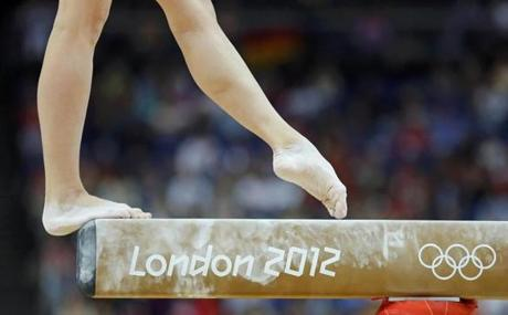 Russia's Kseniia Afanaseva competes in the women's gymnastics balance beam final in the North Greenwich Arena during the London 2012 Olympic Games August 7, 2012. REUTERS/Mike Blake (BRITAIN - Tags: SPORT OLYMPICS SPORT GYMNASTICS TPX IMAGES OF THE DAY)