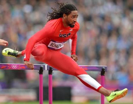 US' Jason Richardson competes in the men's 110m hurdles heats at the athletics event during the London 2012 Olympic Games on August 7, 2012 in London. AFP PHOTO / ERIC FEFERBERGERIC FEFERBERG/AFP/GettyImages