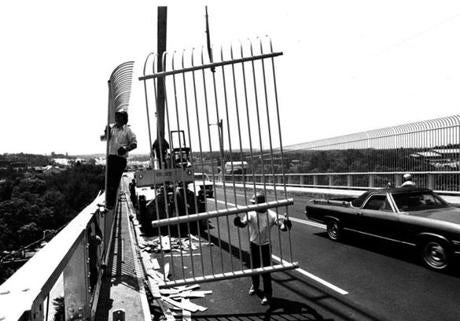 June 24, 1980: Twelve-foot-high fences designed to discourage suicides were erected during the summer along both sides of the Bourne Bridge over the Cape Cod Canal. Similar work was done on the Sagamore Bridge. Since the police began keeping records of suicides in 1963, 53 people had jumped to their deaths from the bridges, 70 others had threatened to leap, and eight had survived suicide attempts by 1980. Signs saying