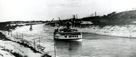 July 29, 1914: Nantasket steamer Rose Standish steamed through the Cape Cod Canal from the Buzzards Bay end and out into Cape Cod Bay to celebrate the opening of the Cape Cod Canal.
