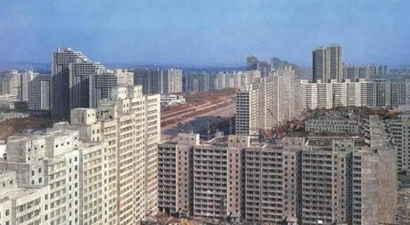 Housing blocks under construction in 1989.