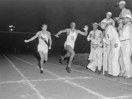 He edged edging Bob Mathias in a 400-meter heat in 1952.