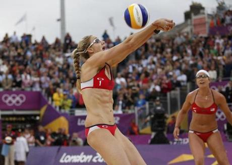 Misty May-Treanor of the US hits the ball during a women's beach volleyball semifinal match against China. May-Treanor and her partner, Kerri Walsh Jennings, advanced to the finals.