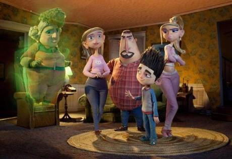 """ParaNorman,'' the new 3-D stop-motion zombie comedy, introduces moviegoers to the Babcock family, whose members (from left) are voiced by Elaine Stritch, Leslie Mann, Jeff Garlin, Kodi Smit-McPhee, and Anna Kendrick."