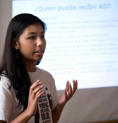 Nalyn Yim helped lead a community informational forum.