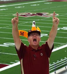 Boston College football fan Don Therrien showed off his pride at Alumni Stadium.