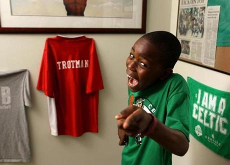 Daylon Trotman, 10, is well known for dancing on the Jumbotron screen during Celtics games.