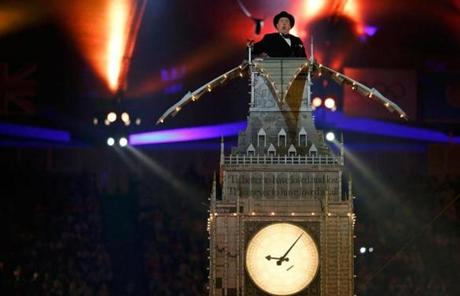 An actor recited a speech by Winston Churchill from a replica of Big Ben during the closing.