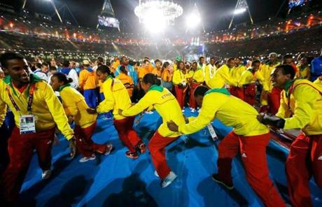 Ethiopian athletes formed a conga line.