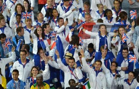 Athletes from France are seen during the closing ceremony at Olympic Stadium.