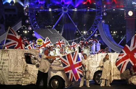 Performers waved British flags.