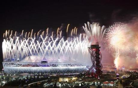 The spectacular closing ceremony featured landmarks, lightshows, music, and fireworks.
