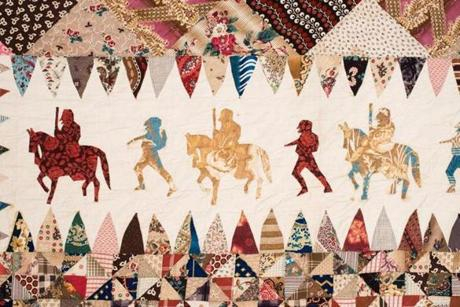 "In the ""Man-Made Quilts"" exhibit, a detail from a Civil War soldier's quilt, New Jersey (1865-75), its maker unknown."