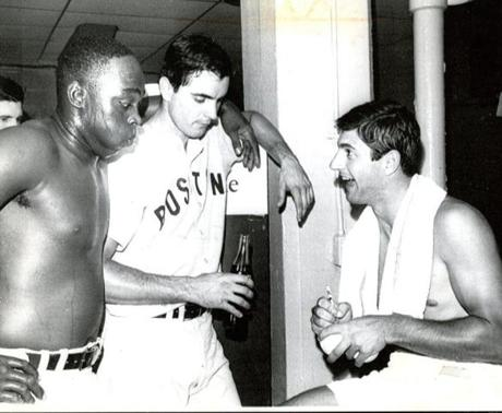 August 7, 1967: Eleven days before before the beaning that would alter his career, Tony Conigliaro relaxed with Red Sox power hitters George Scott and Carl Yastrzemski before their game with the Kansas City Athletics. While the Red Sox lost 5-3, Yaz had 2 hits, Scott had 1, and Conigliaro went 3 for 3 with 2 RBIs.