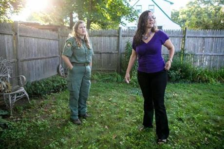 Reptile expert Joaney Gallagher (left) helped Debbie Young, owner of the still missing pet turtle named Zeke.