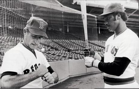 Pesky talked hitting with Jim Rice. Rice played for the Sox from 1974 to 1989.