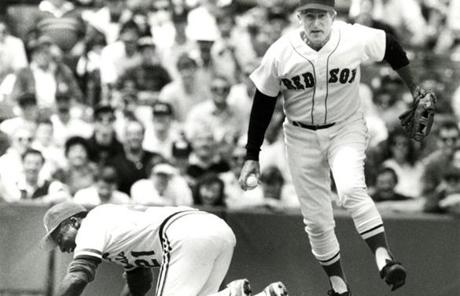 Pesky is seen in action in an old timers' game in 1989.