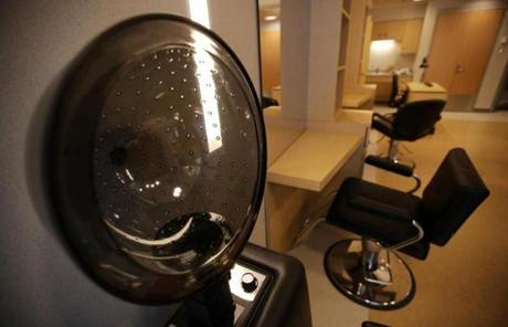 A beauty salon, intended to create a more comfortable and social atmosphere, is one of hospital's many amenities.