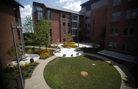 The hospital has multiple courtyards for residents to enjoy the outdoors.