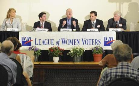 Democratic candidates Mara Dolan, Joe Kearns Goodwin, Mike Barrett, Alex Buck and Joe Mullin participated in a League of Women Voters  event August 15.