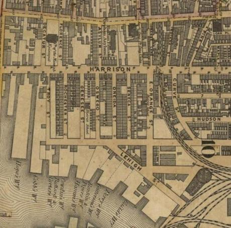 A map of Boston in 1852 shows the location of the New York Streets.