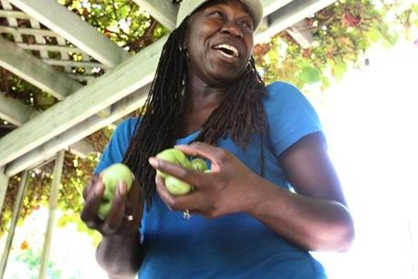 Jhana Senxian gets ready for the main event--the garden party in August.  She picked the green tomatoes to save them from advancing tomato blight. A neighbor has promised to fry them up for the party in three days time.