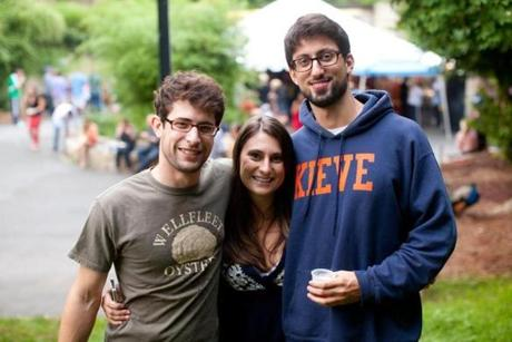 8/18/12 Boston, MA -- From left, WIll Kaufman, Katie Cowie and Nick Cushing, all of Boston, at the 3rd annual Brew at the Zoo event at the Franklin Park Zoo, August 18, 2012.