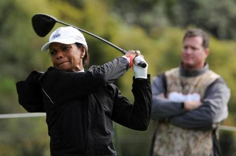 Condoleezza Rice tees off at a pro-am event in Los Angeles in 2011.