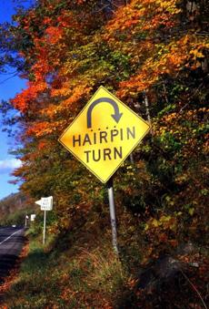 The Hairpin Turn on the Mohawk Trail is aptly named.