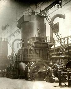 October 25, 1924: One of the vertical Curtis turbines at the L Street power station in South Boston used to power the elevated railway system. There were three turbines — 15,000 kilowatts each — located in the South Boston Station of the Massachusetts Bay Transit Authority. Theses turbines were taken out of service in 1950.