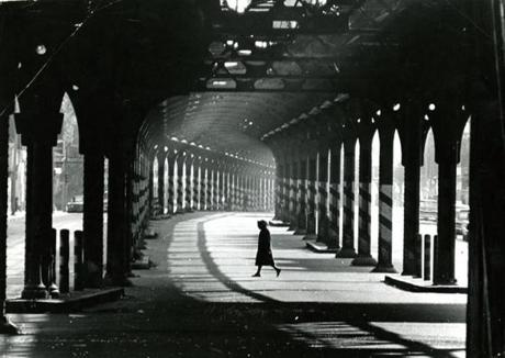 June 9, 1969: A woman walked in shadows under the elevated line on Washington Street.