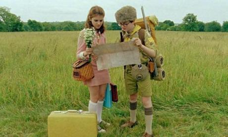 "Newcomers Kara Hayward as Suzy and Jared Gilman as Sam in ""Moonrise Kingdom."""