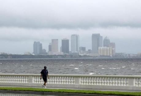 Clouds covered Tampa, Fla., early Monday.