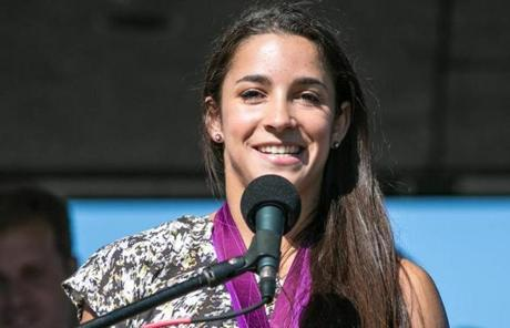 Raisman addressed the crowd during the rally.