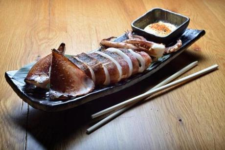Sliced whole squid with spiced mayonnaise.