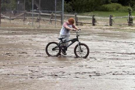 Last year, Chris Webster tried to ride his bike on a flooded playground in Rutland, Vt.