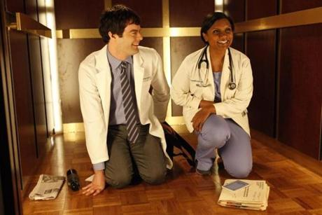 "Mindy (Mindy Kaling, right), a skilled OB/GYN meets her boyfriend Tom (Bill Hader, left) in ""The Mindy Project."""
